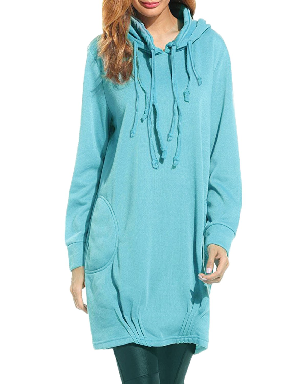 a709d487241 Kidsform Women s Hoodies Jumper Long Tops Coat Plus Size Pullover Sweatshirt  Loose Casual Maxi Dress KIDSFORMyonnciiuk1586