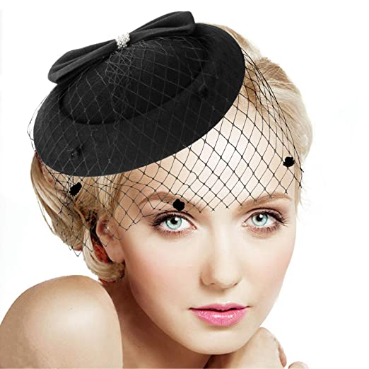 Legnaus Fascinators for Women Feather Fascinator Hats Women s Pillbox Hat  for Wedding Church Deryby Tea Party dcadcd3f2c1b