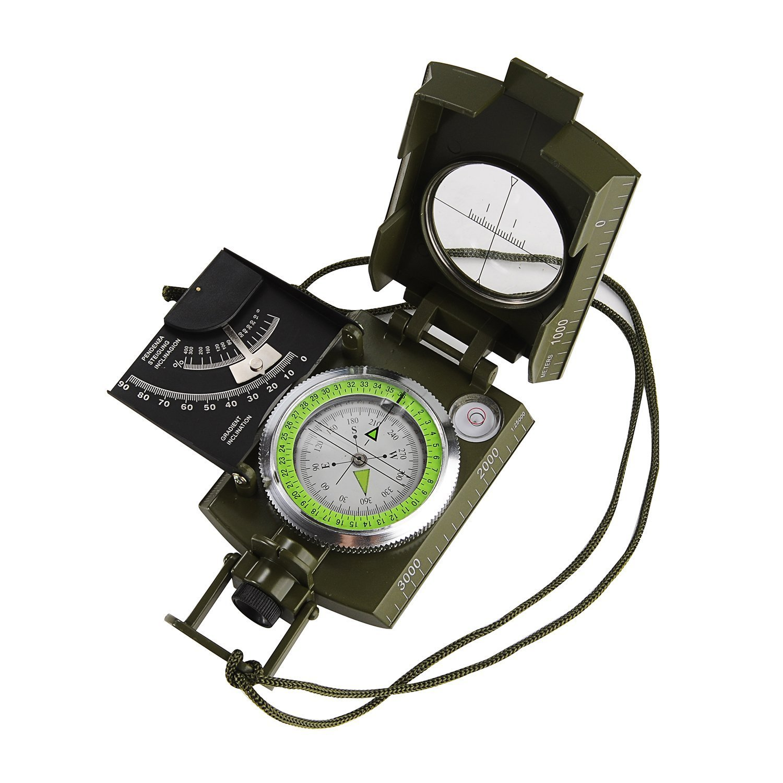 alenbrathy多機能コンパス防水プロフェッショナルコンパスナビゲーションクリノメーター蛍光灯スケールポータブルメタルSightingコンパスInclinometer Forキャンプハイキング登山Hunting B072513Z9G
