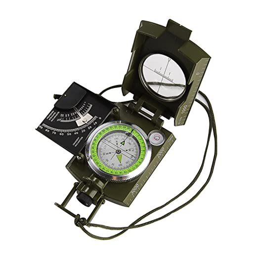 Alenbrathy Multifunctional Compass Waterproof Professional Navigation Compass Clinometer with Fluorescent Scale Portable Metal Sighting Compass Inclinometer for Hiking Camping Hunting Climbing