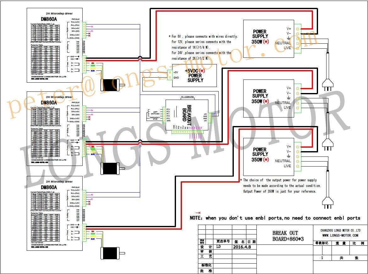 3 Axis Nema 34 Stepper Motor 1600 Oz.in & Driver DM860A CNC Router Nema Wiring Diagram on nema 17 wiring, nema 23 wiring, servo wiring, ac motor wiring, arduino wiring, stepper motor wiring,