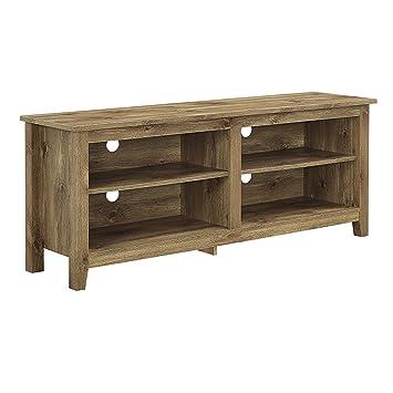 walker edison wood tv stand console barnwood 58u0026quot