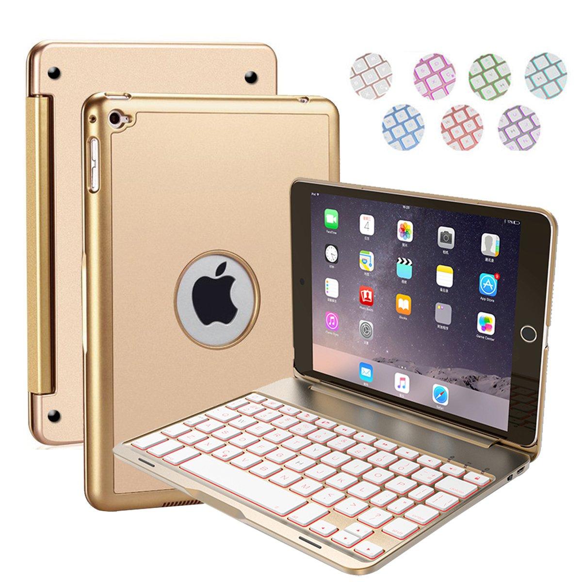 iPad Mini4 Keyboard Case Nasion.V Bluetooth Wireless Keyboard Case Cover with 7 Colors Folio Backlight Ultra-Thin Portable Keyboard Case for iPad Mini4 - Rosegold