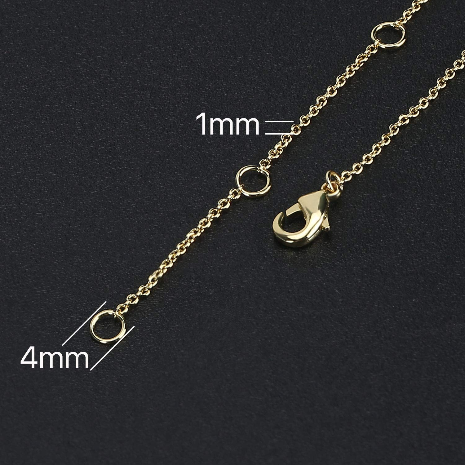 Wholesale 12 PCS 14K Real Gold Plated Solid Brass Thin O Chain Necklace 1 MM Finished Chain Bulk for Jewelry Making by SPUNKYCHARMS (Image #3)
