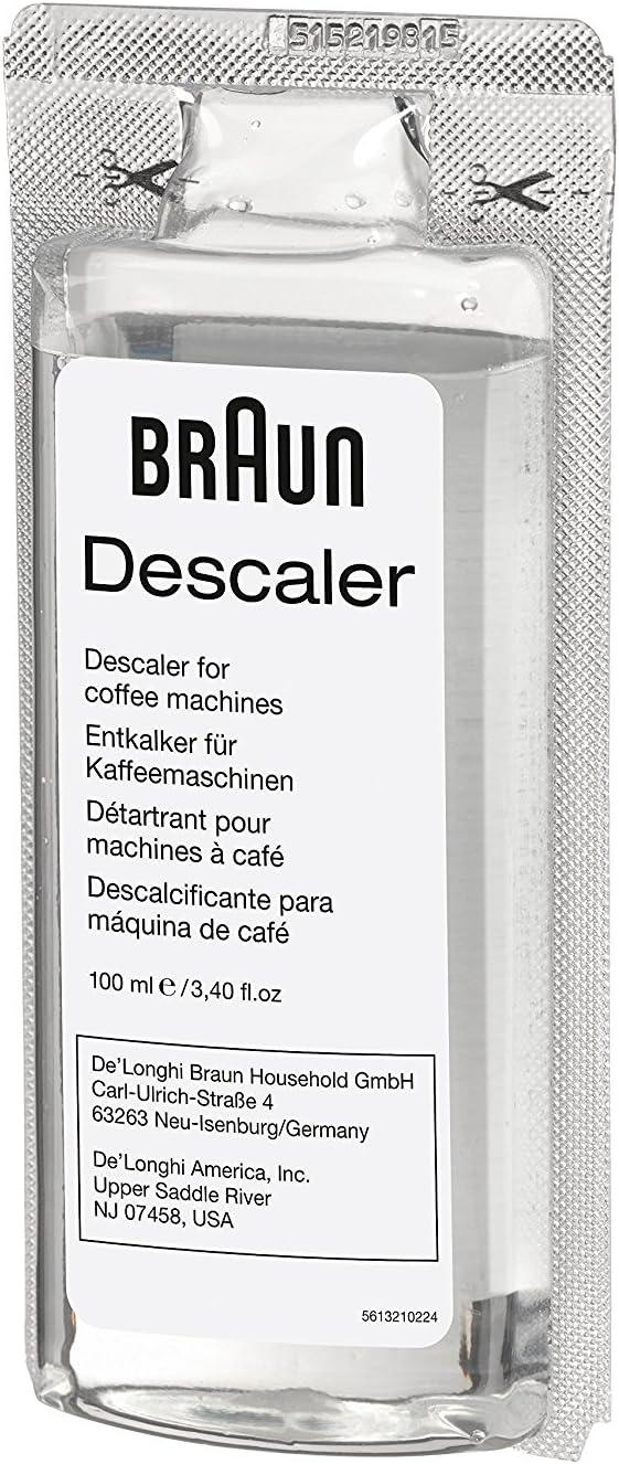Braun Descaler, Universal Coffee & Espresso Machine Descaling Solution, 2-Pack (1 use per pack) 513ehpae6EL