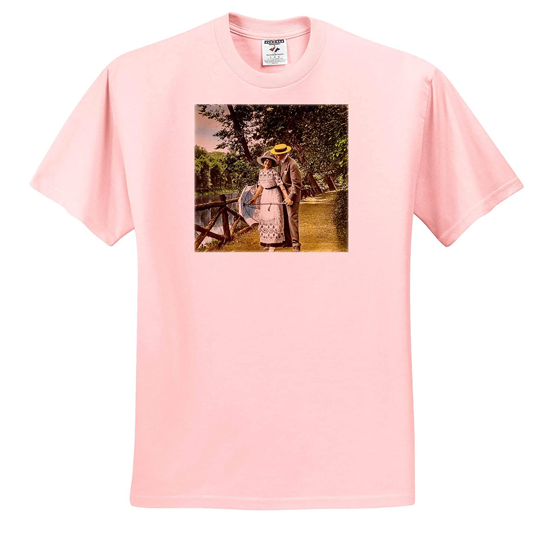 3dRose Scenes from The Past Magic Lantern T-Shirts Scott and Van Altena Sing Along Slide Lovers Stroll Along Riverside