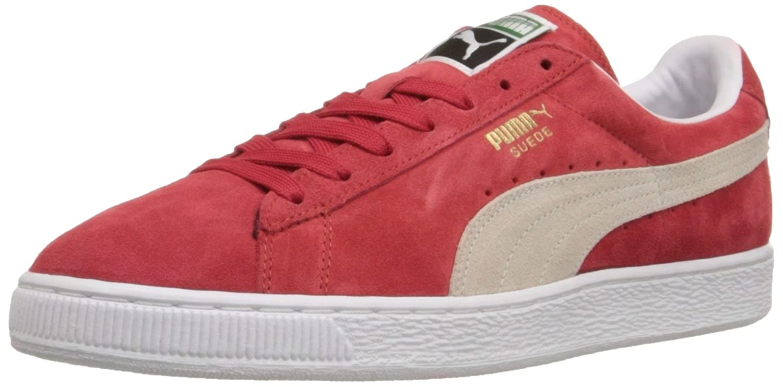 PUMA Adult Suede Classic Shoe B07FLQNFRQ 43-44 M EU / 10 D(M) US|High Risk Red/White