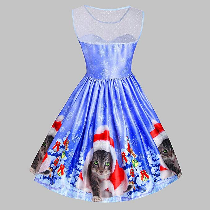 9b518be89287 Amazon.com: FEDULK Women's Dress Christmas Cat Print Sleeveless Vintage  Flared Ladies Evening Party Dress: Clothing