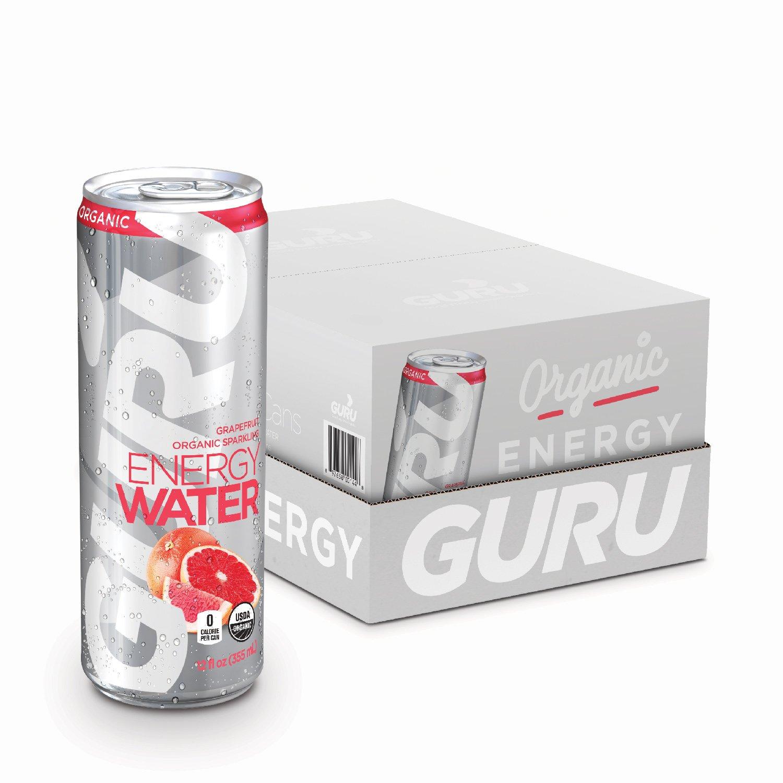 GURU Organic Energy Water, Sugar Free, Zero Calorie, Sparkling Water with Natural Caffeine, Grapefruit, 12-Ounce (24 count) by Guru