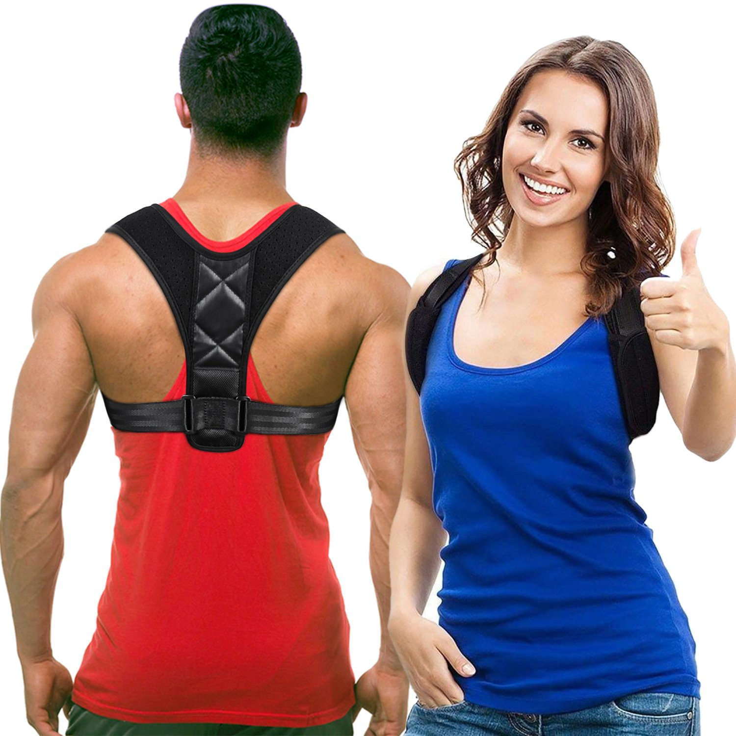 WEIJI Posture Corrector,Effective and Comfortable Adjustable Clavicle Chest Support Back Brace with Two Soft Pad for Men and Women (Size L REG 32''- 41'')