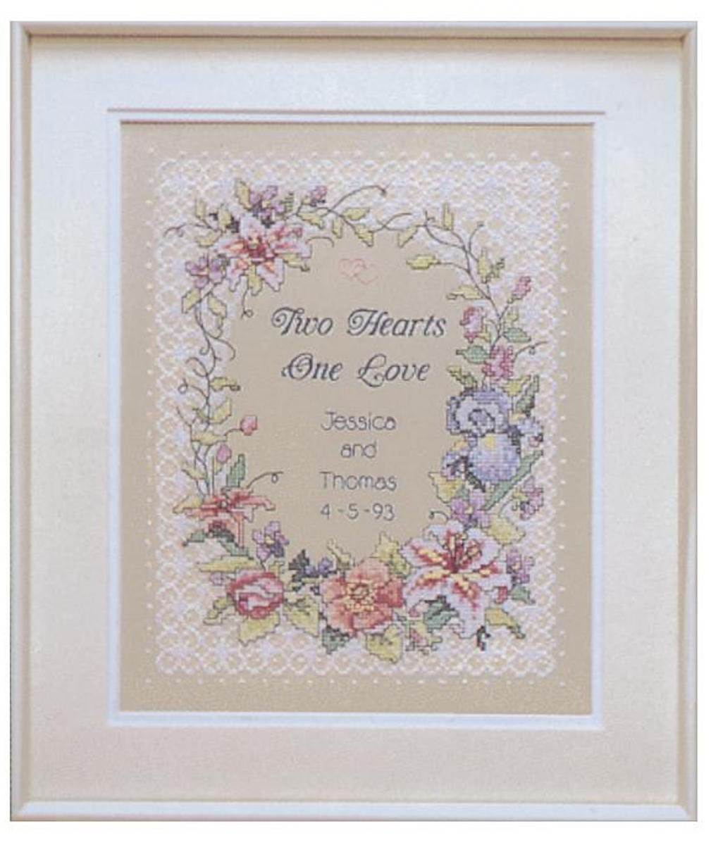 """Dimensions Stamped Cross Stitch Kit 11""""X14""""-Two Hearts Wedding Record"""