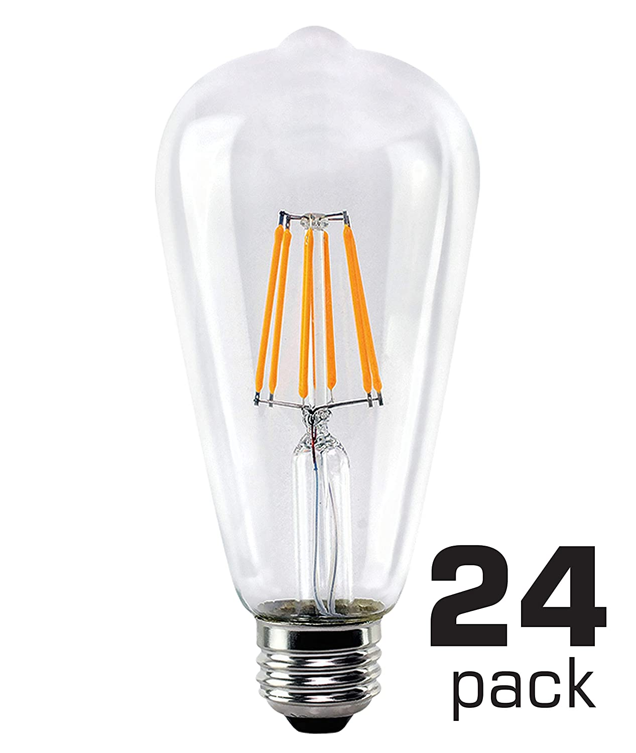 Soft Warm White OSTWIN Antique Vintage Thomas Edison Style Dimmable ST64 ST21 Clear Glass LED Filament Light Bulbs Teardrop 4W 6 Pack 40 Watt Equivalent UL Listed E26 Medium Base 400Lm 2200K