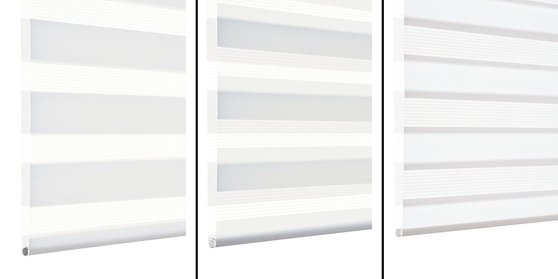 GARDINIA Doppelrollo zum Klemmen oder oder oder Kleben, Duo-Rollo  Seitenzugrollo, Transparente und blickdichte Streifen, Alle Montage-Teile inklusive, Weiß, 120 x 150 cm (BxH) B005ADTABC Seitenzug- & Springrollos 724bd5