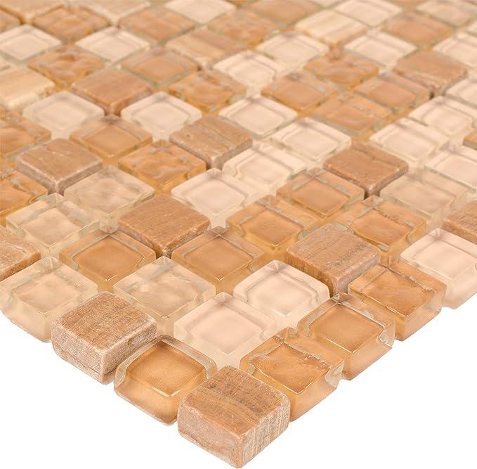Modern Squares Brown Orange Yellow Glossy Glass Stone Mosaic Tile MTO0269