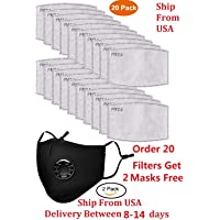 Molante 20pcs PM2.5 Activated Carbon Filter Replaceable Anti Haze Filter Paper for Mask (1-pack)