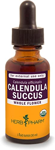 Herb Pharm Certified Organic Calendula Succus Liquid Topical Extract for Minor Pain Support – 1 Ounce