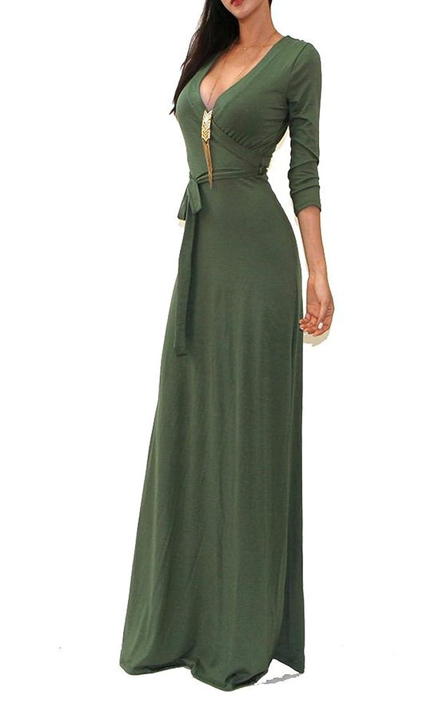 ECOWISH Damen Lange Ärmel tiefem V-Ausschnitt-Partei-Kleid-Maxi langes Abendkleid