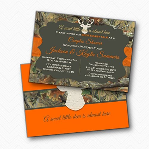 Amazon the hunt is over orange deer antler camo baby shower the hunt is over orange deer antler camo baby shower invitations envelopes included filmwisefo