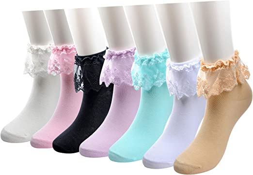 ruffle lace  all sizes infant to adult Candy  Beaded Socks bobby