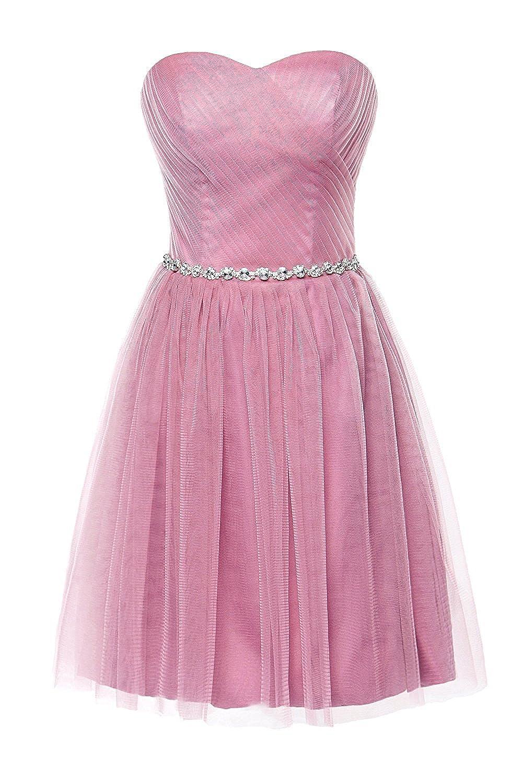 bluesh Pink Victoria Prom Women Short Bridesmaid Dress for Junior Sweetheart Beads Girls Party