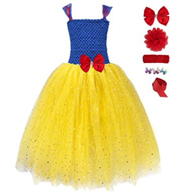 7f4fb8daf08b Amazon.com  Girls Long Princess Tutu Sequin Tulle Dresses Party ...