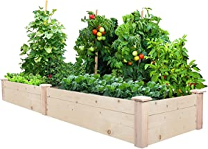 8x2 FT Raised Garden Bed Kit Elevated Wood Planter Garden Box Stand for for Backyard, Patio Outdoor Solid Wood