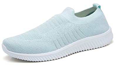 c374b4e5614ff TSIODFO Women Sport Running Shoes Slip on Loafers Breathable Comfort  Walking Fashion Sneakers