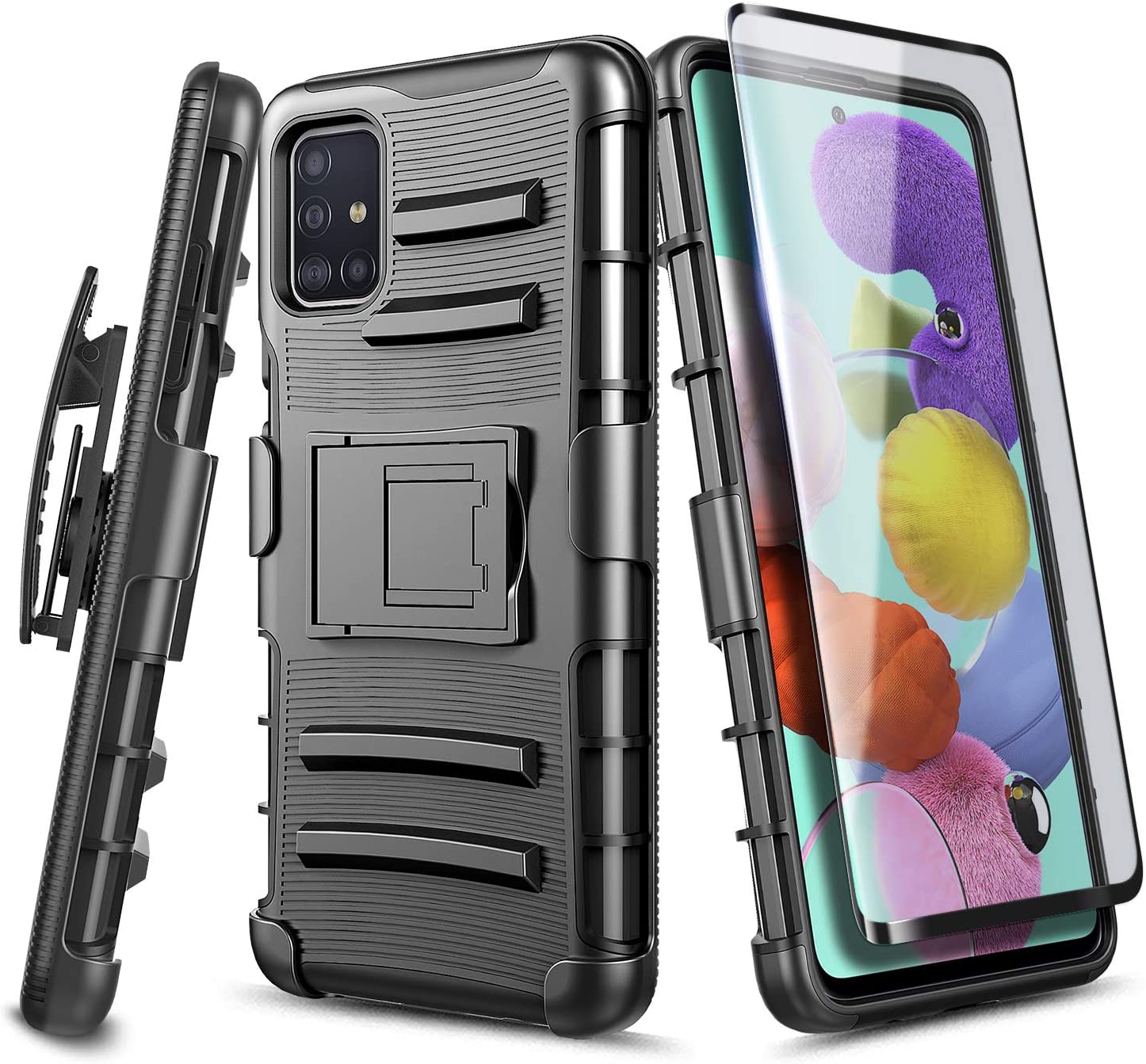 E-Began Case for Samsung Galaxy A51 [Not Fit A51 5G Version] with Tempered Glass Screen Protector (Full Coverage), Belt Clip Holster w/Kickstand Heavy Duty Armor Defender Shockproof Rugged Case -Black