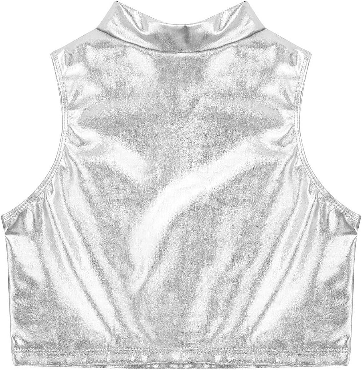 inhzoy Maillot de Ballet Charol para Ni/ña Brillante Crop Top de Danza Chaleco Corto Sin Mangas Leotardo de Gimnasia Camiseta Deportiva Fitness Yoga