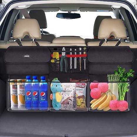 Organisateur de Rangement pour la Voiture SUV//MPV//Van Tissu 600D Oxford Rangement de Voiture Oasser Sac de Rangement Arri/ère pour Voiture avec 6 Grandes Poches et Magicien de lespace