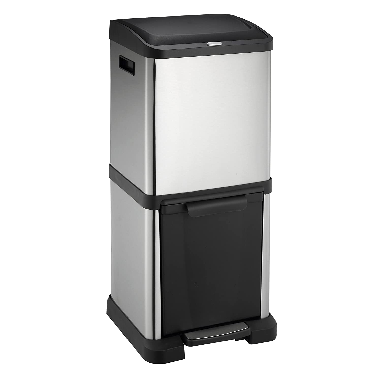 Lyndan - Sistema di gestione dei rifiuti Totem da 34 litri, sistema di gestione dei a torre in acciaio inossidabile, pattumiera / pulsante a pedale, doppia, e uso domestico Riciclare il riciclaggio