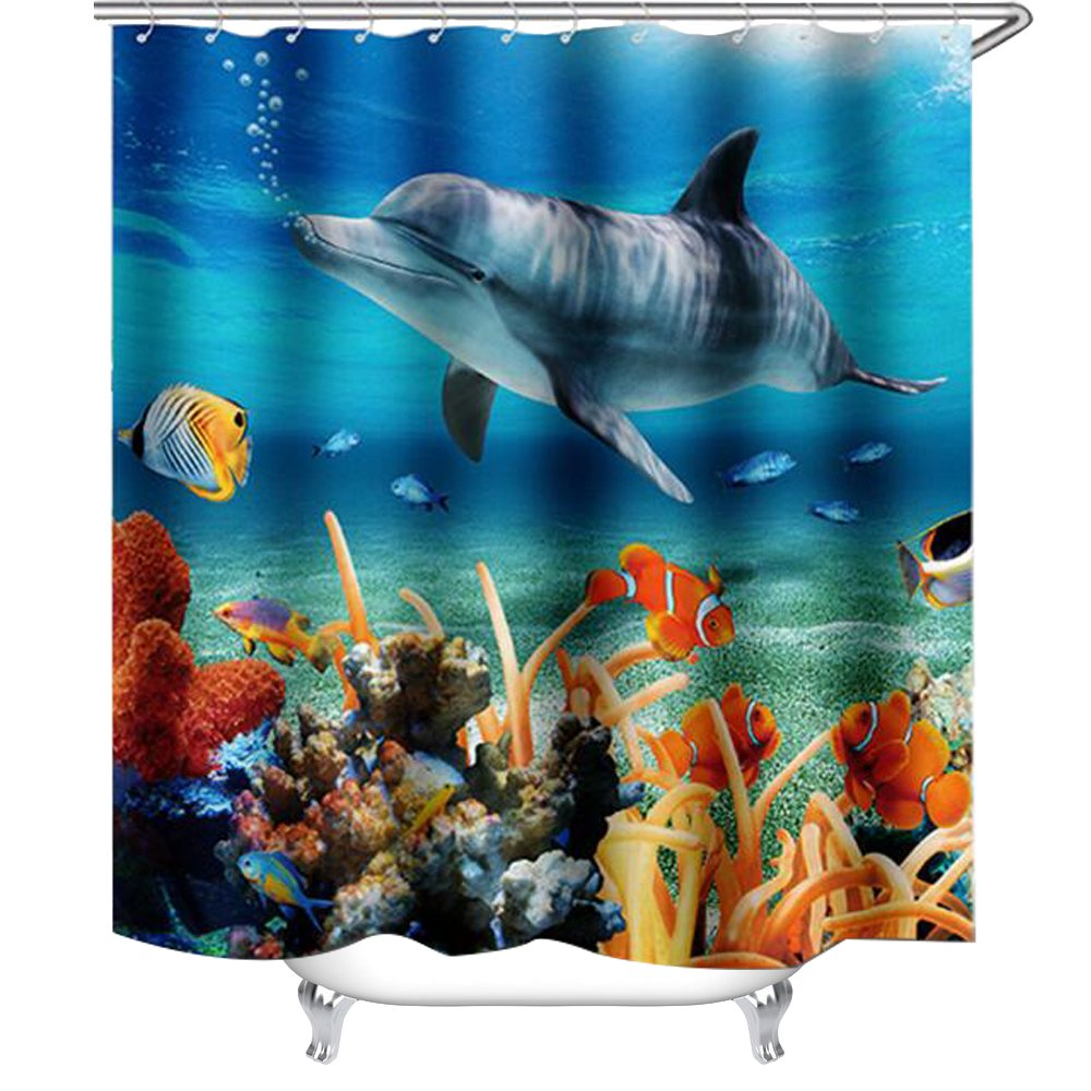 WAYLONGPLUS Under Sea World Dolphins Animals Art Decor Polyester Fabric Shower Curtain, Plastic Shower Hooks Include (150cm x 180cm)