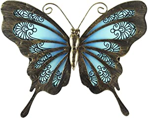 Liffy Metal Butterfly Wall Decor Outdoor Art Decorations Blue for Living Room Bedroom