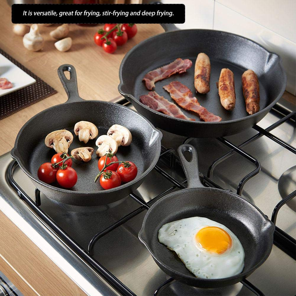 Fry Pan/Frying pan Cookware Set, 3pcs/Set 16cm 20cm 25cm Cast Iron Frying Pans Cookware Pots Household Kitchen Cooking Tool by Yosooo (Image #9)