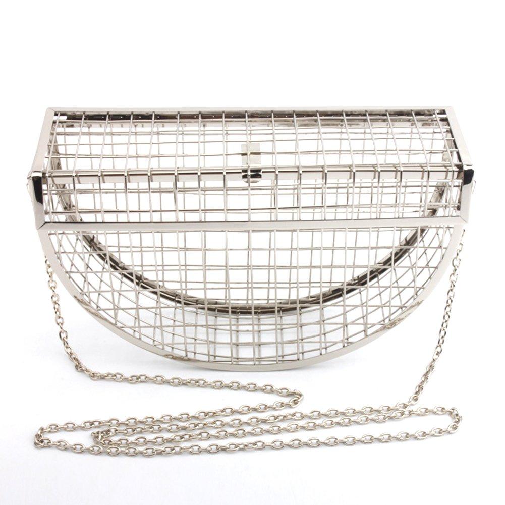 Yunhigh Silver Evening Bag Clutch Women Shoulder Bag Metal Mesh Luxury Sling Bag Hollow Crossbody Handbag with Chain Strap for Party Wedding