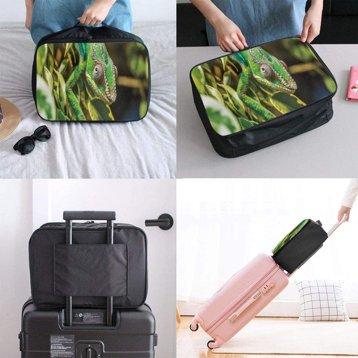 Travel Bags Camouflage Art Portable Foldable Trolley Handle Luggage Bag