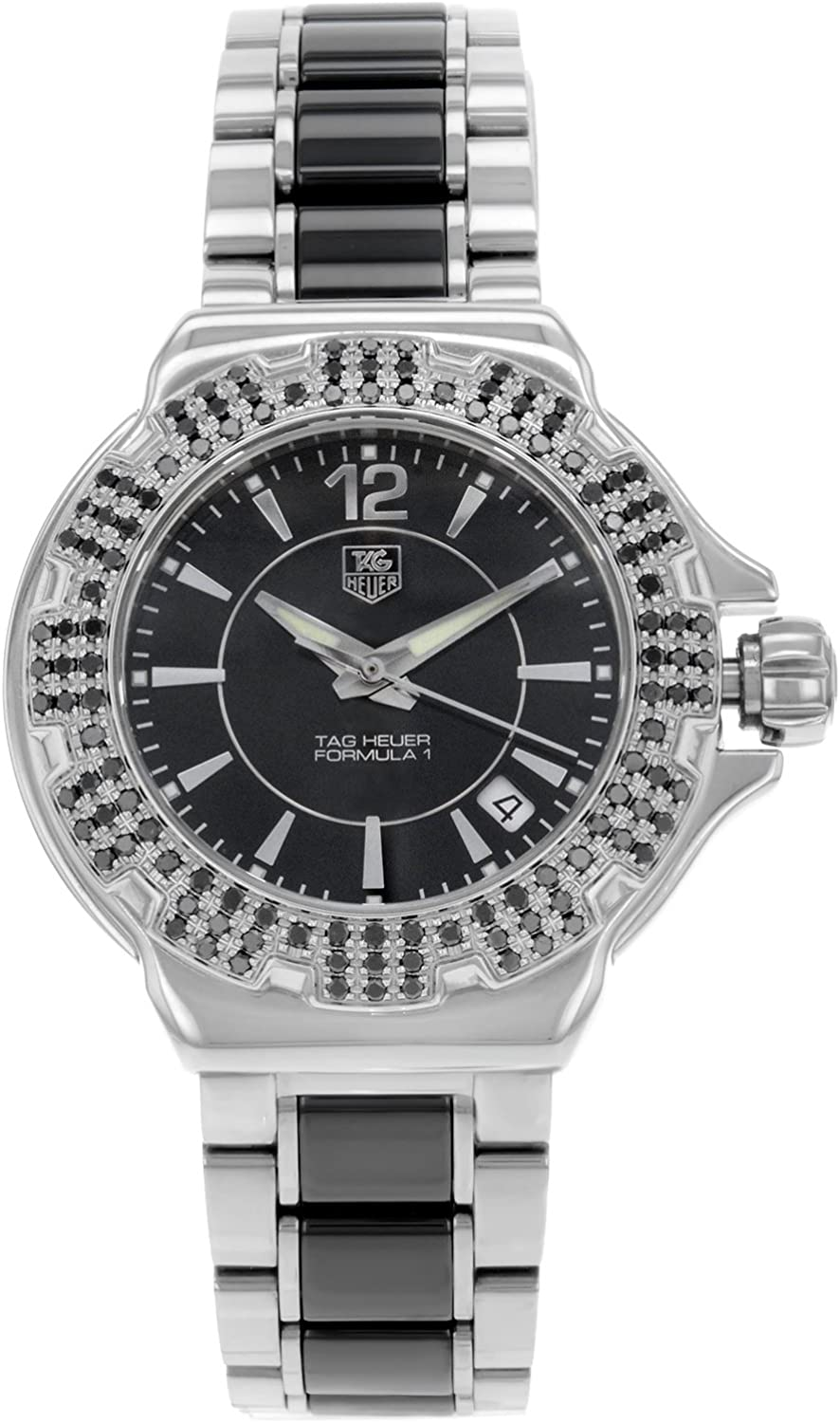 Tag Heuer F1 Black Dial Steel and Ceramic Black Diamond Bezel Ladies Watch WAH1216.BA0859