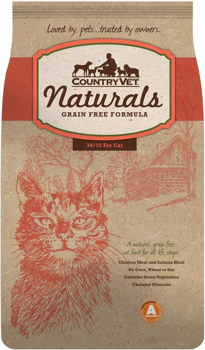 Country Vet Naturals 34/15 Grain Free High Protein Dry Cat Food, 18 Lb