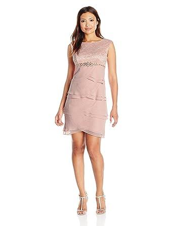 229ed75f7cd9 Jessica Howard Women's Petite Beaded Waist Artichoke Dress at Amazon  Women's Clothing store: