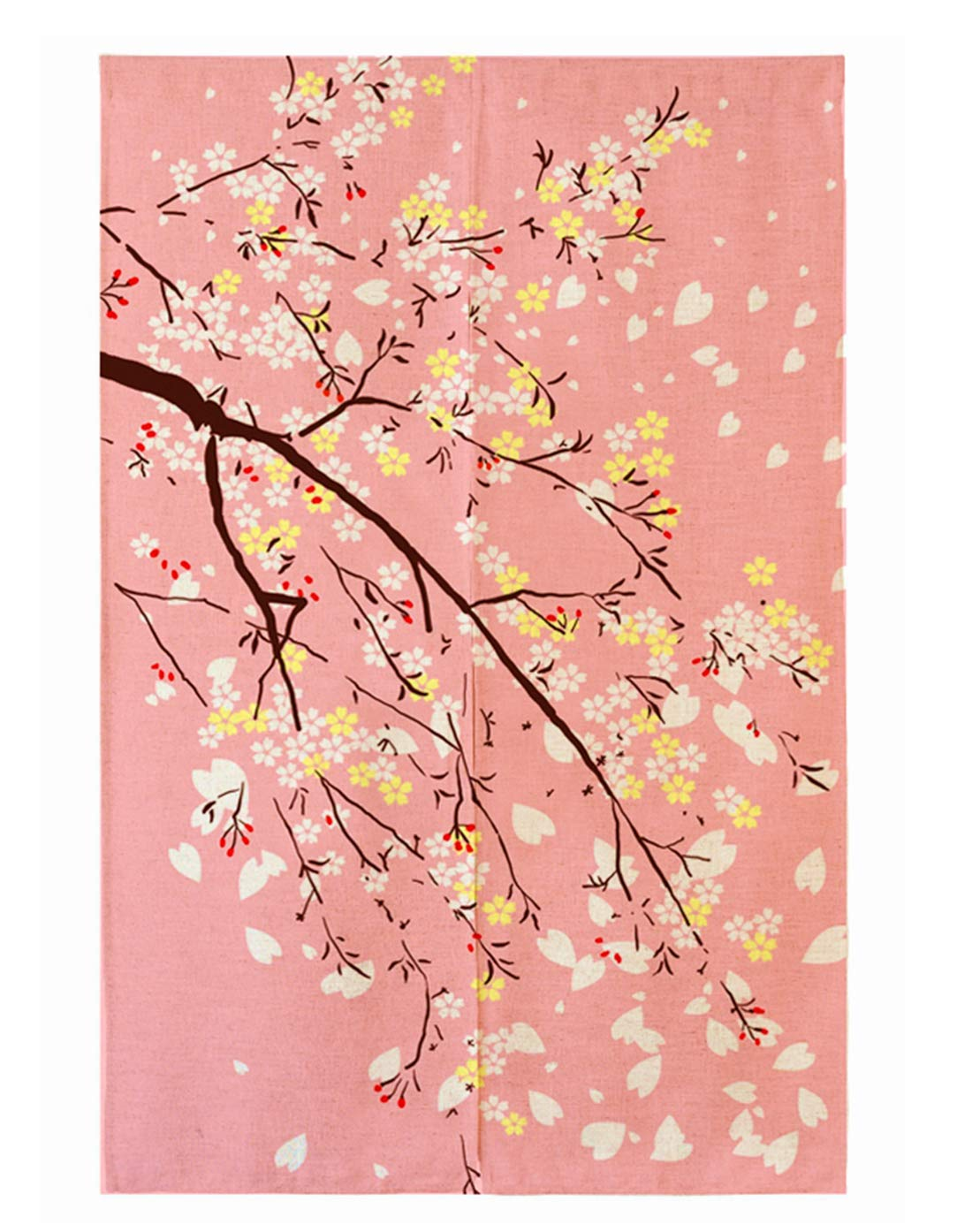 "LIGICKY Noren Japanese Doorway Curtain Printed Cherry Blossom Door Curtains Window Tapestry for Home Decoration, 33.5""x59"" Pink"