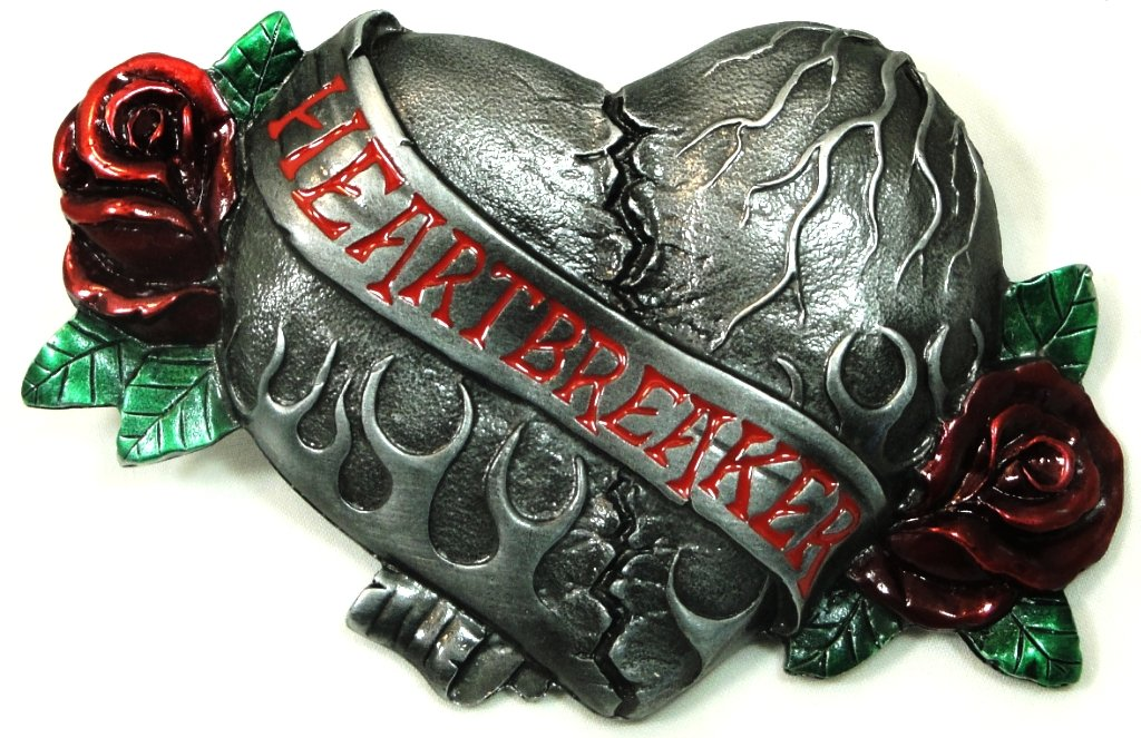BIG HEARTBREAKER PEWTER BELT BUCKLE; MADE IN THE USA BY BERGAMONT
