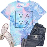 Mama Letter Printed T-Shirt for Women Blessed Mama Shirt Short Sleeve Graphic Tops Tee Casual Blouse