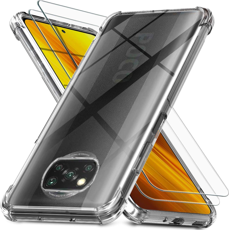 Ferilinso Funda para Xiaomi Poco X3 NFC + 2 Piezas Cristal Templado Protector de Pantalla [Transparente TPU Carcasa] [10X Anti-Amarilleo] [Anti-Choque] [Anti-arañazos] [9H Dureza] [Fácil instalación]