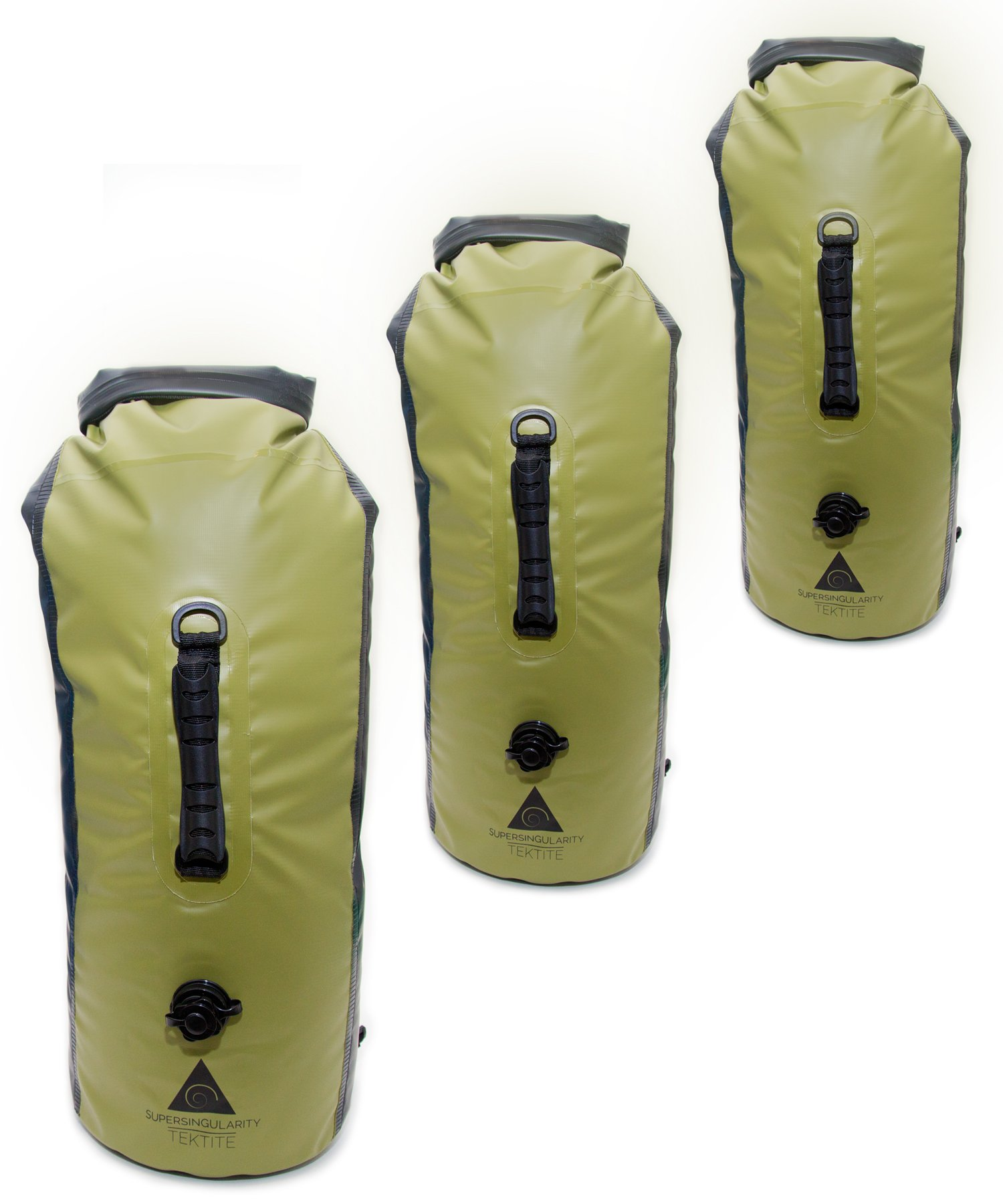 SUPERSINGULARITY 30L Dry Bag (3 Pack) Waterproof Backpack Compression Sack - Green & Black by SUPERSINGULARITY