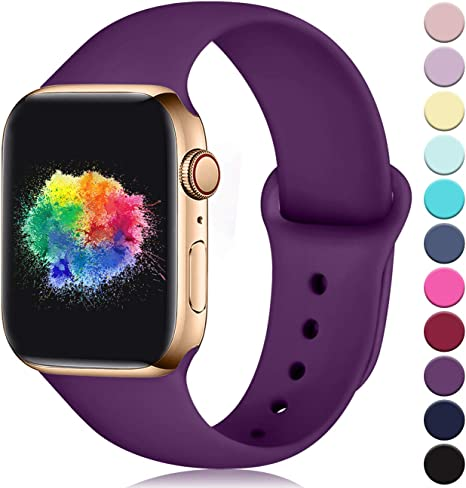 Imagen deYoumaofa Correa Compatible con Apple Watch 38mm 40mm, Correa de Silicona Repuesto Pulsera Deportivas para iWatch Series 5 Series 4 Series 3 Series 2 Series 1, 38mm/40mm S/M Púrpura