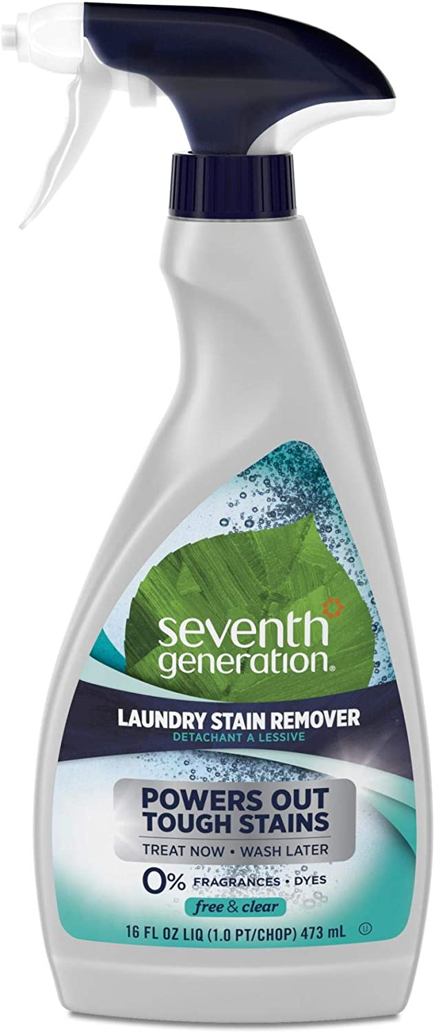 Seventh Generation Natural Laundry Stain Remover, Free & Clear, 16 oz Spray Bottle