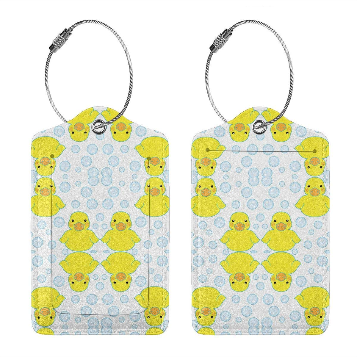 Rubber Ducks and Bubbles 2.7 x 4.6 Blank Tag Key Tags for Christmas Birthday Couples Gift Leather Luggage Tags Full Privacy Cover and Stainless Steel Loop 1 2 4 Pcs Set