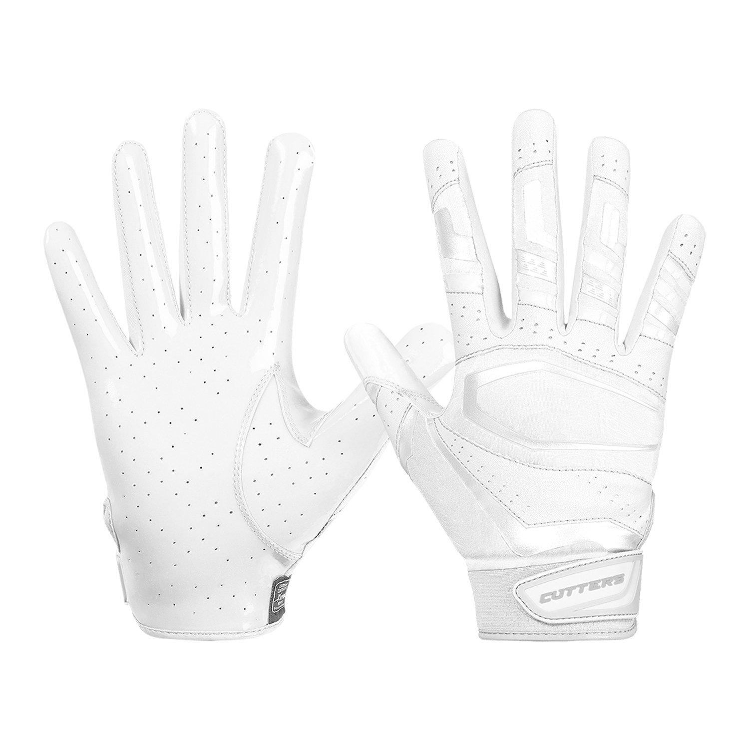 Cutters Gloves, Solid White, Large