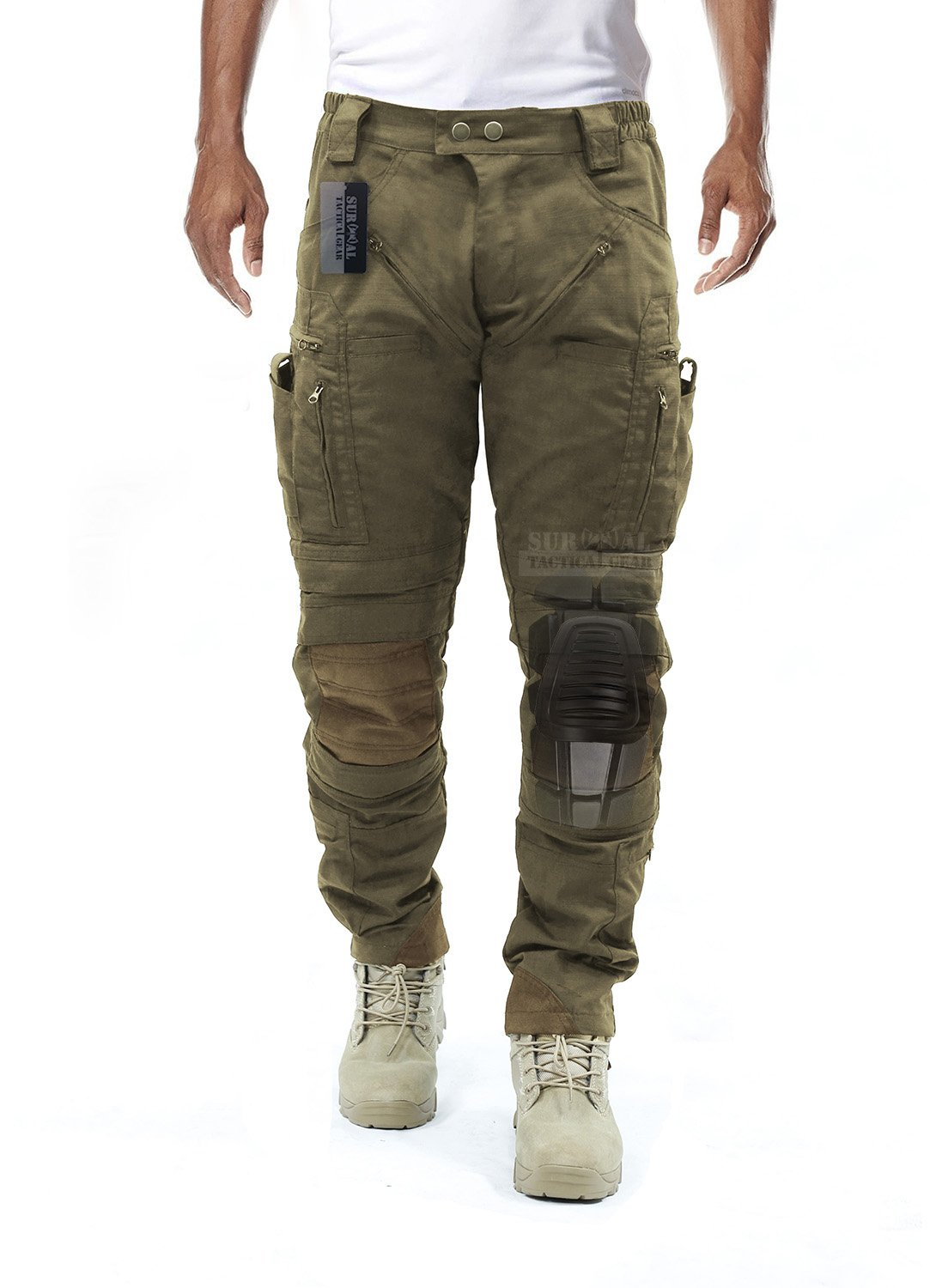 Survival Tactical Gear Men's Airsoft Wargame Tactical Pants with Knee Protection System & Air Circulation System (Tan, L) by Survival Tactical Gear