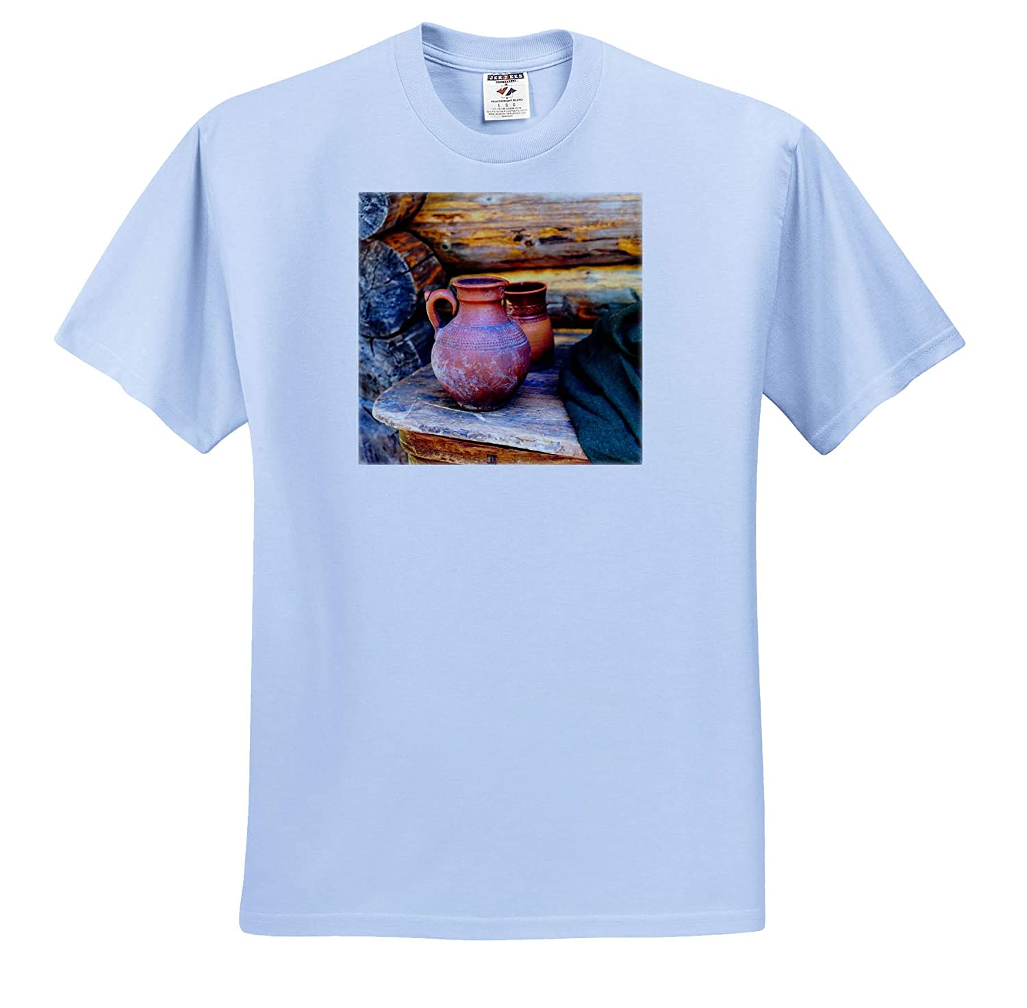 Green Cloth Still-Life Ceramic Pitchers on a Wooden Table by The Log Wall T-Shirts 3dRose Alexis Photography